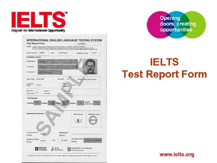 IELTS Test Report Form
