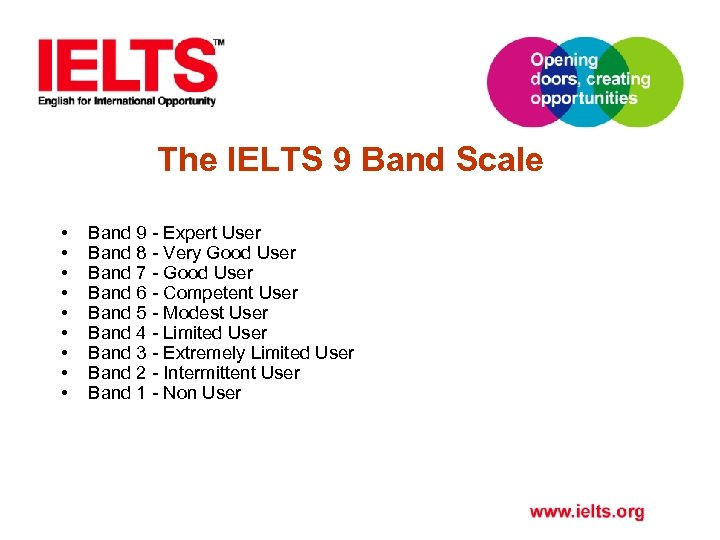 The IELTS 9 Band Scale • • • Band 9 - Expert User Band