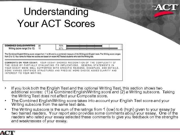 Understanding Your ACT Scores • • • If you took both the English Test