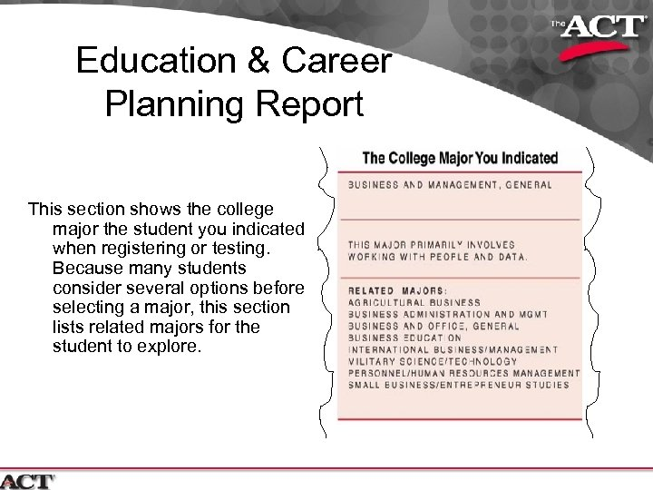 Education & Career Planning Report This section shows the college major the student you