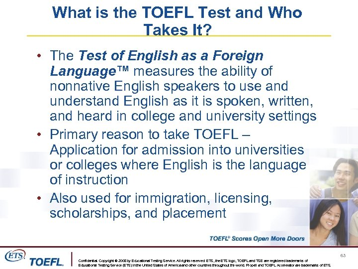 What is the TOEFL Test and Who Takes It? • The Test of English