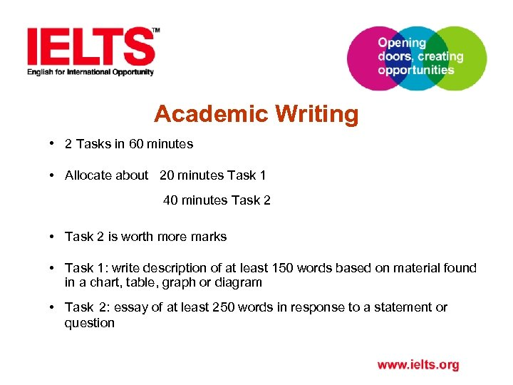 Academic Writing • 2 Tasks in 60 minutes • Allocate about 20 minutes Task