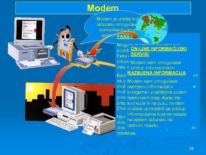 Modem je uređaj koji računalu omogućava komunikaciju kroz telefonske linije. FAKS SERVISI Moguće je