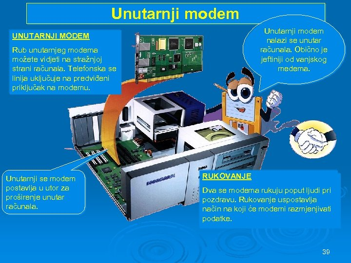 Unutarnji modem UNUTARNJI MODEM Rub unutarnjeg modema možete vidjeti na stražnjoj strani računala. Telefonska