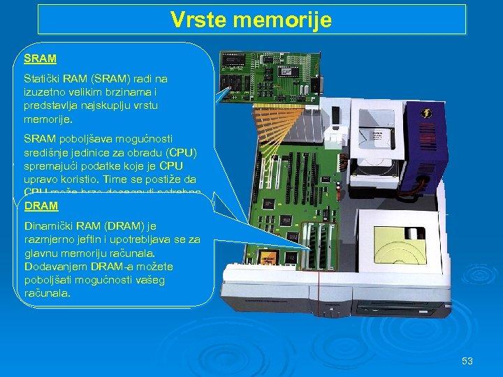 Vrste memorije SRAM Statički RAM (SRAM) radi na izuzetno velikim brzinama i predstavlja najskuplju
