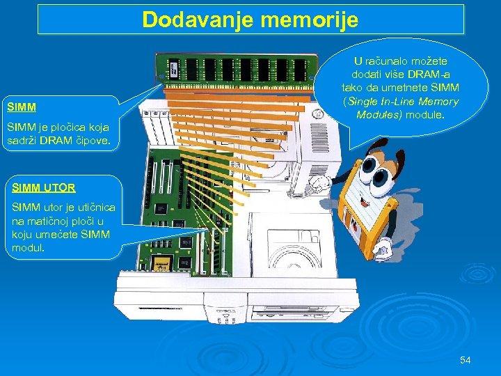 Dodavanje memorije SIMM U računalo možete dodati više DRAM-a tako da umetnete SIMM (Single