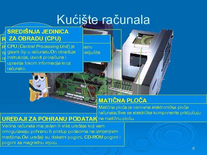 Kućište računala SREDIŠNJA JEDINICA sadrži ZA OBRADU (CPU) RADNA važne dijelove MEMORIJA koje računalu