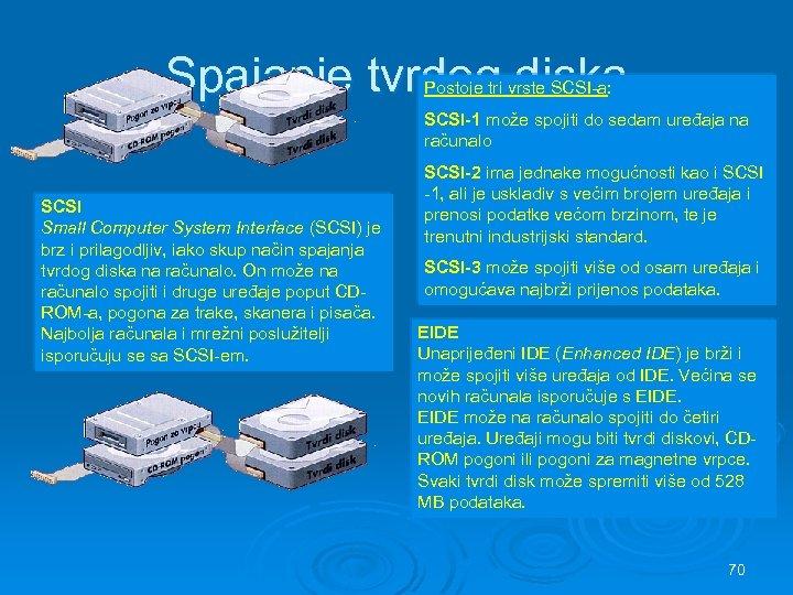 Spajanje tvrdog diska Postoje tri vrste SCSI-a: SCSI-1 može spojiti do sedam uređaja na