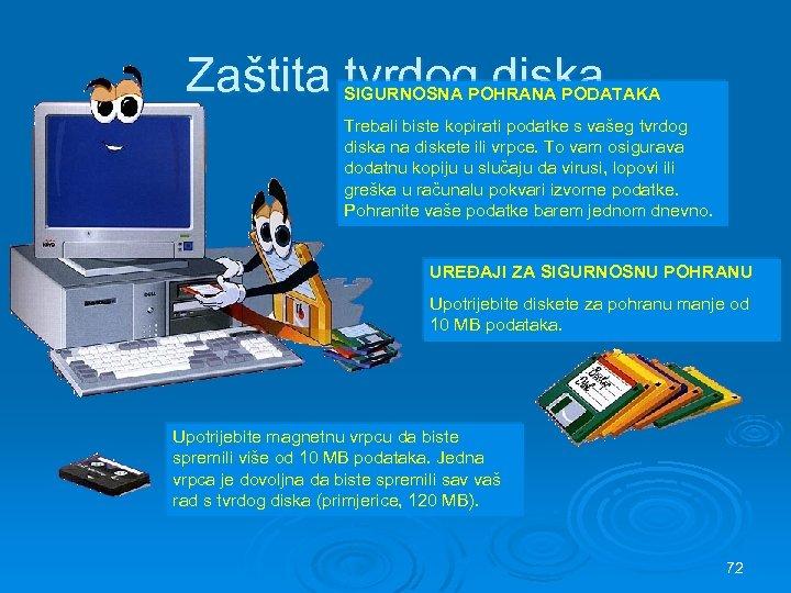 Zaštita tvrdog diska SIGURNOSNA POHRANA PODATAKA Trebali biste kopirati podatke s vašeg tvrdog diska