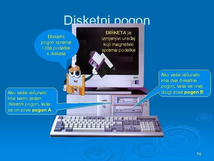 Disketni pogon sprema i čita podatke s disketa Ako vaše računalo ima samo jedan
