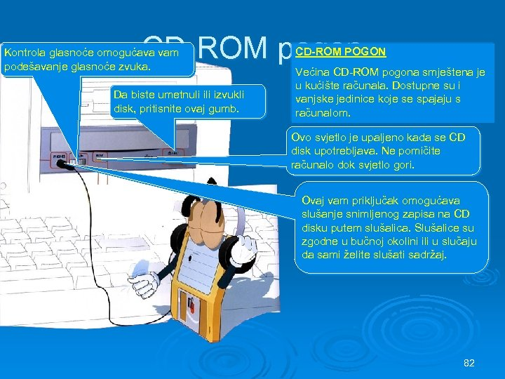 CD-ROM pogon Kontrola glasnoće omogućava vam podešavanje glasnoće zvuka. Da biste umetnuli izvukli disk,