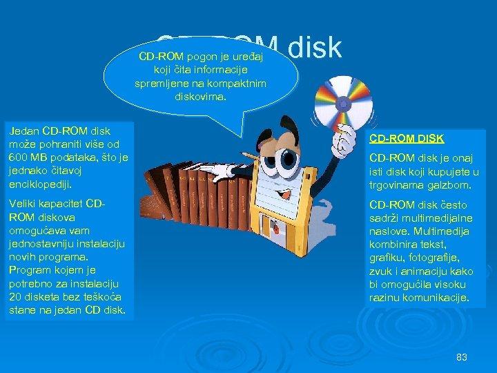 CD-ROM disk CD-ROM pogon je uređaj koji čita informacije spremljene na kompaktnim diskovima. Jedan