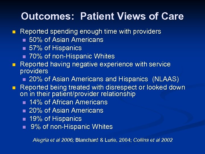 Outcomes: Patient Views of Care n n n Reported spending enough time with providers