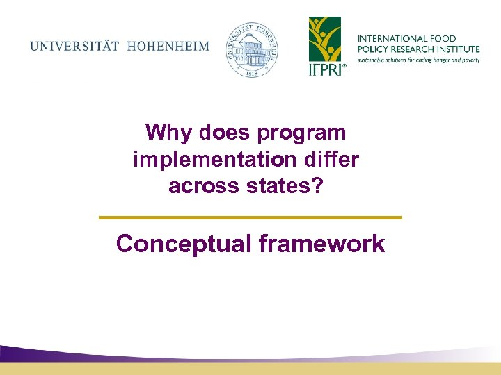 Why does program implementation differ across states? Conceptual framework
