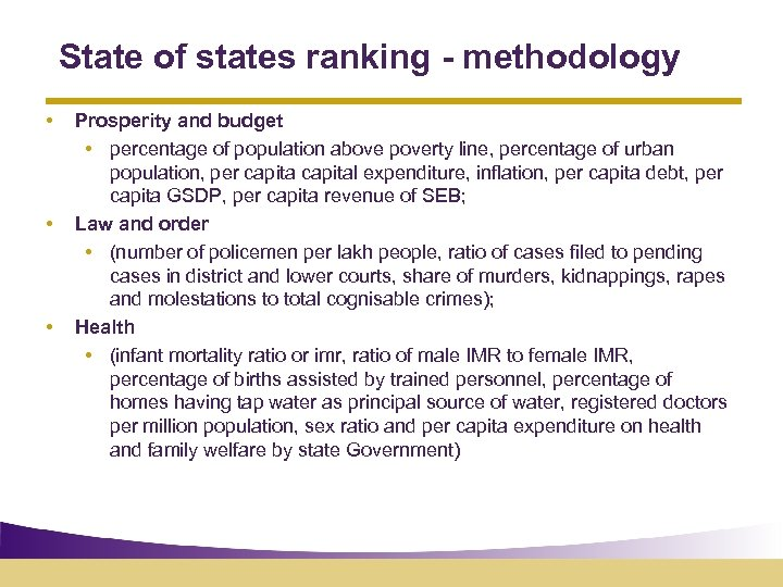 State of states ranking - methodology • • • Prosperity and budget • percentage