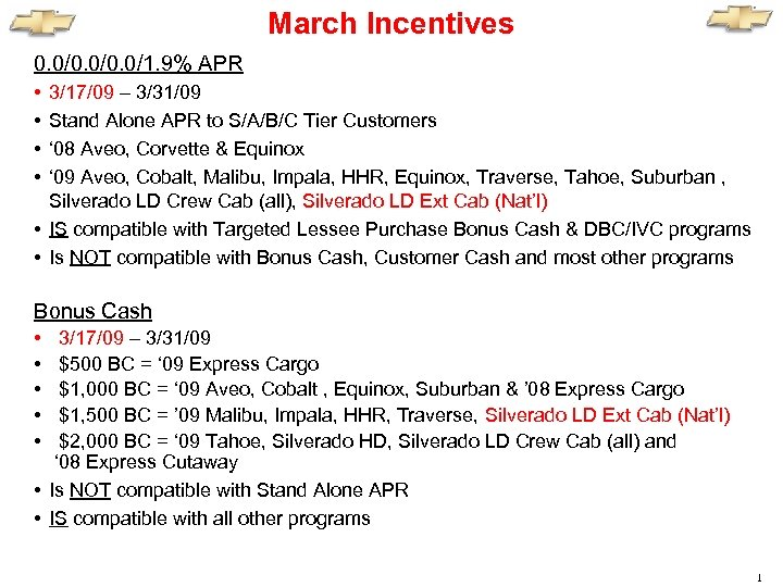 March Incentives 0. 0/0. 0/1. 9% APR • • 3/17/09 – 3/31/09 Stand Alone
