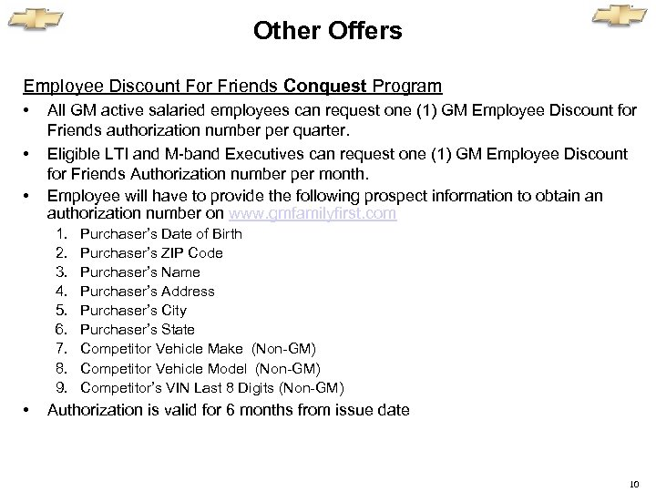 Other Offers Employee Discount For Friends Conquest Program • • • All GM active