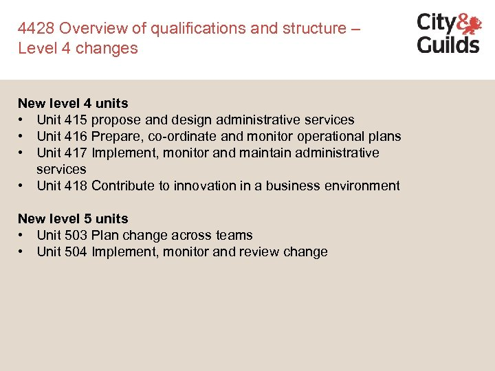 4428 Overview of qualifications and structure – Level 4 changes New level 4 units