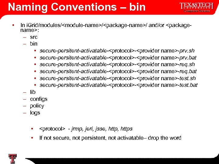 Naming Conventions – bin • In i. Grid/modules/<module-name>/<package-name>/ and/or <packagename>: – src – bin