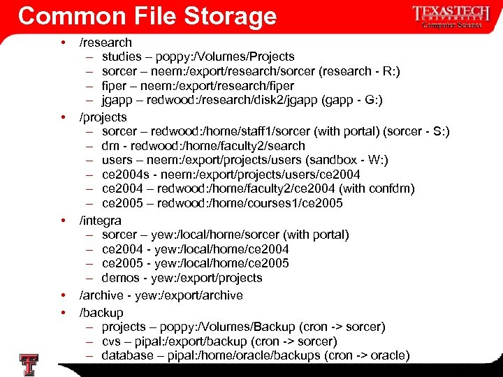 Common File Storage • • • /research – studies – poppy: /Volumes/Projects – sorcer