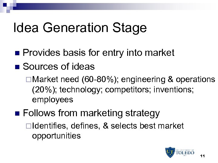 Idea Generation Stage Provides basis for entry into market n Sources of ideas n