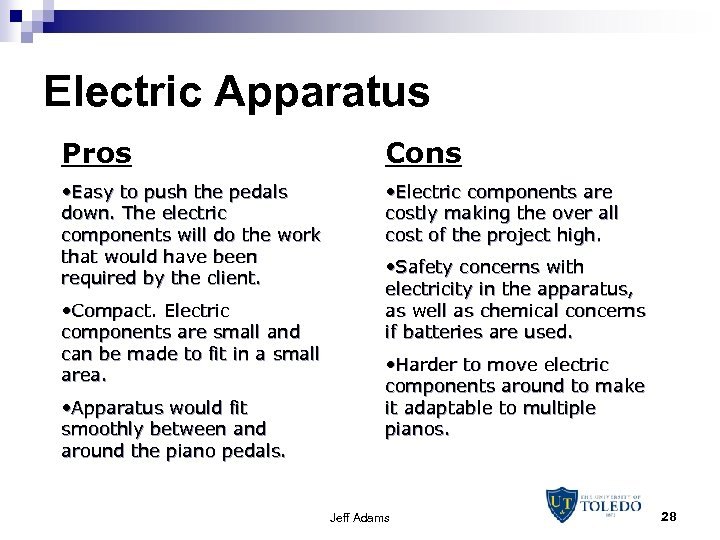 Electric Apparatus Pros Cons • Easy to push the pedals down. The electric components