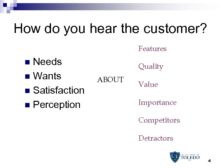 How do you hear the customer? Features Needs n Wants n Satisfaction n Perception