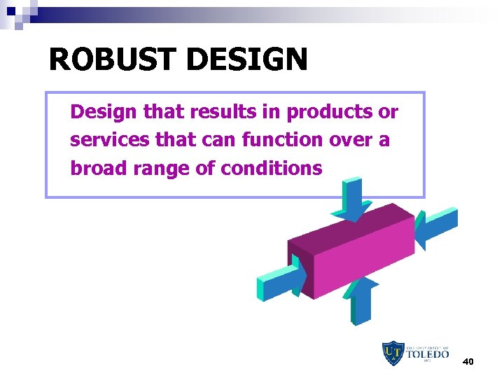 ROBUST DESIGN Design that results in products or services that can function over a