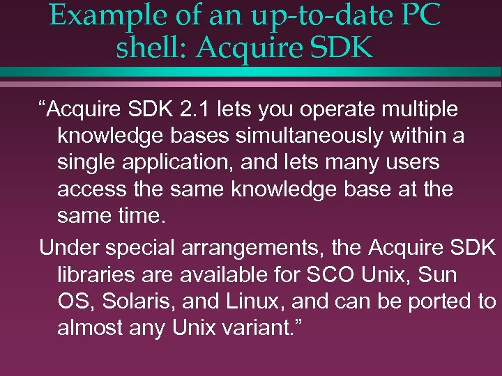 """Example of an up-to-date PC shell: Acquire SDK """"Acquire SDK 2. 1 lets you"""