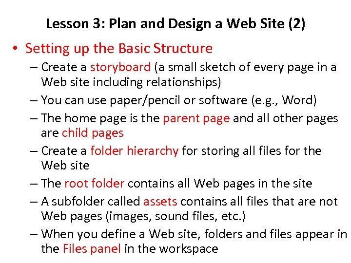 Lesson 3: Plan and Design a Web Site (2) • Setting up the Basic