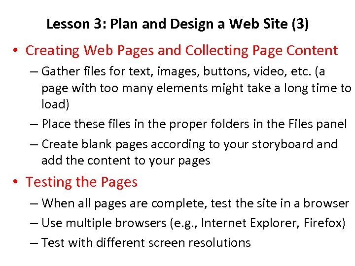 Lesson 3: Plan and Design a Web Site (3) • Creating Web Pages and