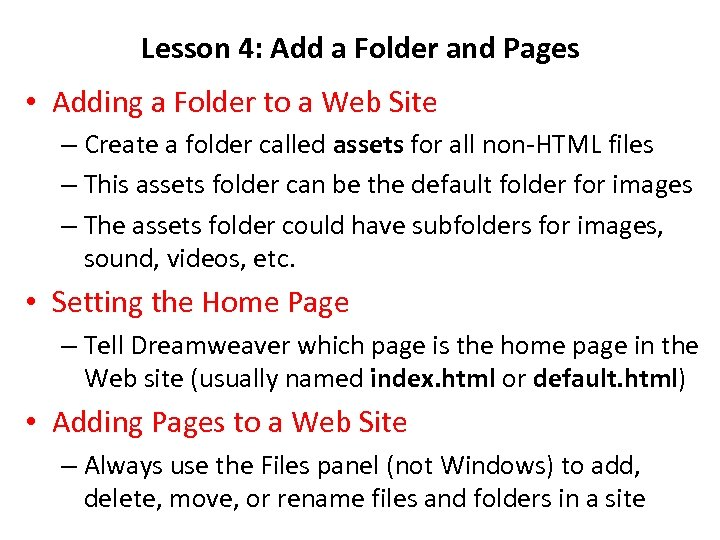 Lesson 4: Add a Folder and Pages • Adding a Folder to a Web