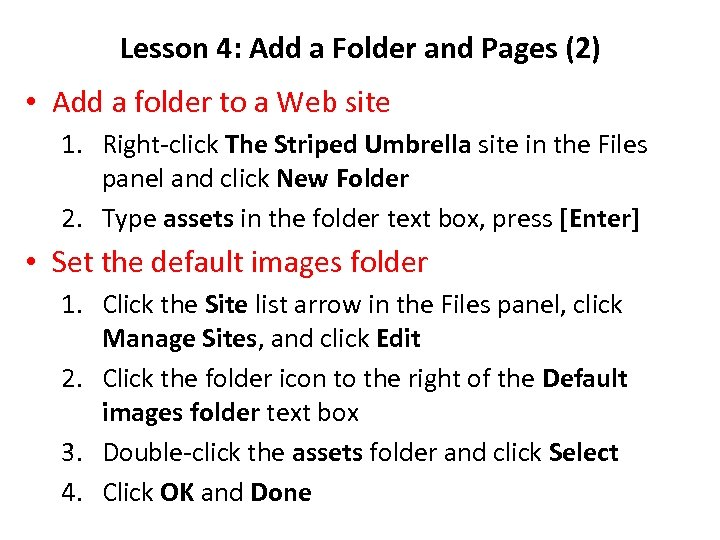 Lesson 4: Add a Folder and Pages (2) • Add a folder to a
