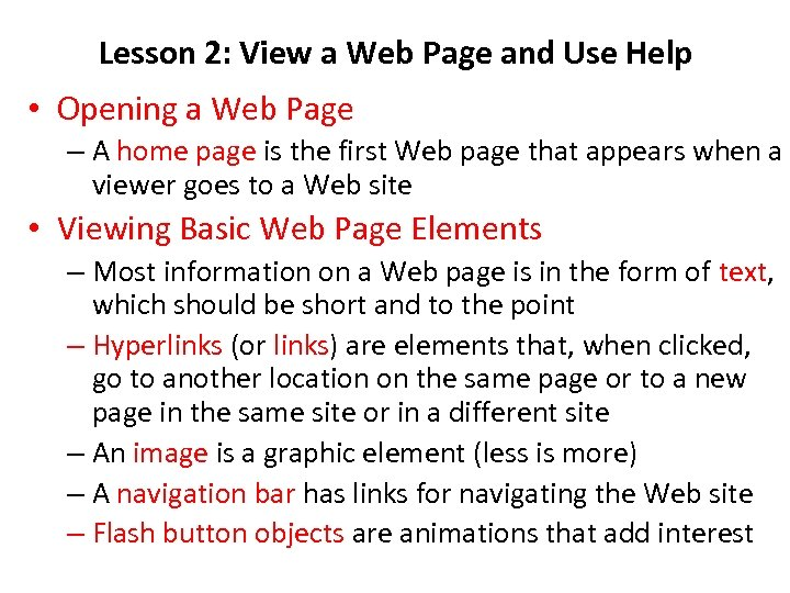 Lesson 2: View a Web Page and Use Help • Opening a Web Page