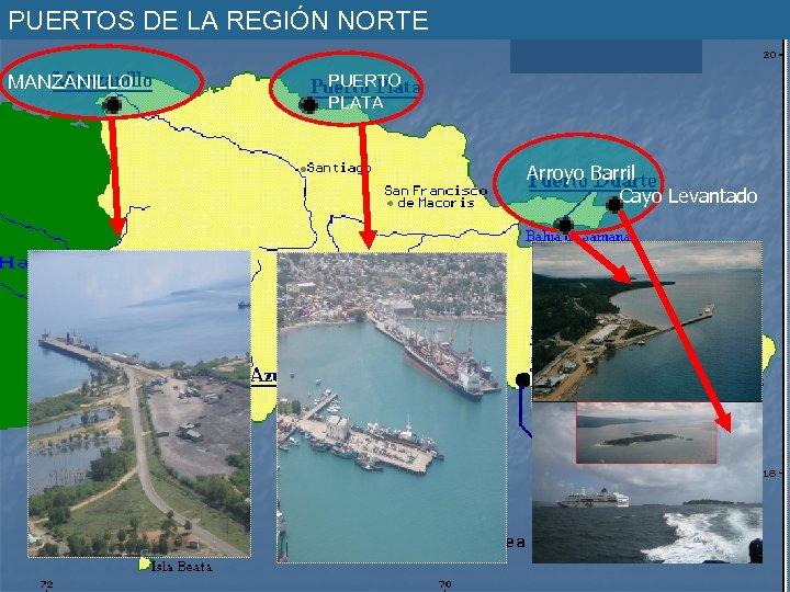 PUERTOS DE LA REGIÓN NORTE MANZANILLO PUERTO PLATA Arroyo Barril Cayo Levantado