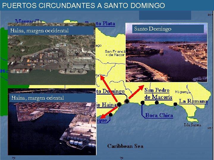 PUERTOS CIRCUNDANTES A SANTO DOMINGO Haina, margen occidental Haina, margen oriental Santo Domingo