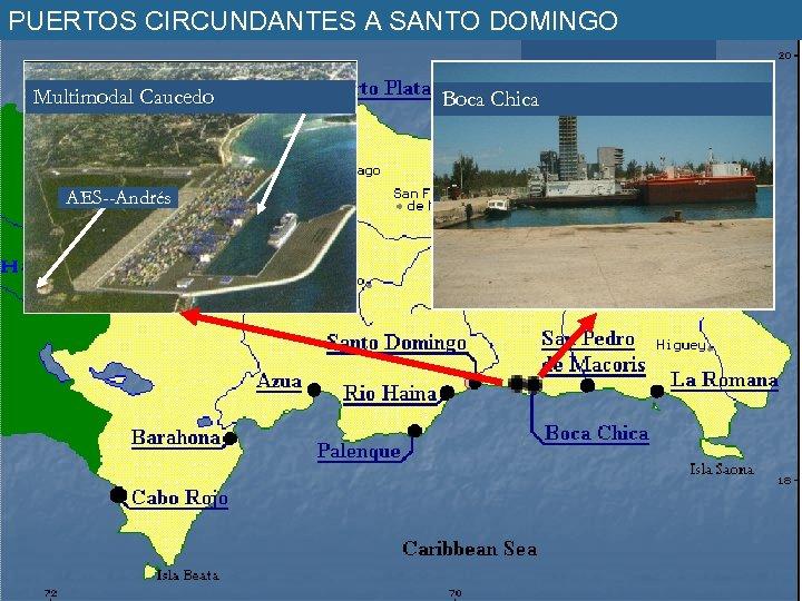 PUERTOS CIRCUNDANTES A SANTO DOMINGO Multimodal Caucedo AES--Andrés Boca Chica