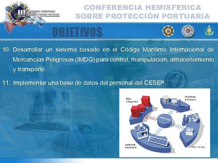 CONFERENCIA HEMISFERICA SOBRE PROTECCIÓN PORTUARIA OBJETIVOS 10. Desarrollar un sistema basado en el Código