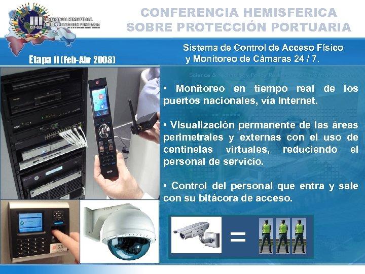 CONFERENCIA HEMISFERICA SOBRE PROTECCIÓN PORTUARIA Etapa II (Feb-Abr 2008) Sistema de Control de Acceso