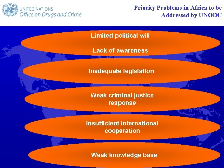 Priority Problems in Africa to be Addressed by UNODC Limited political will Lack of