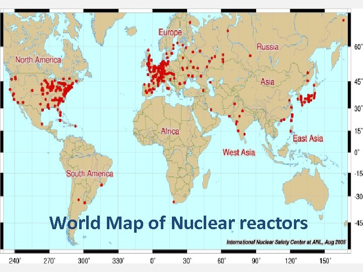 World Map of Nuclear reactors