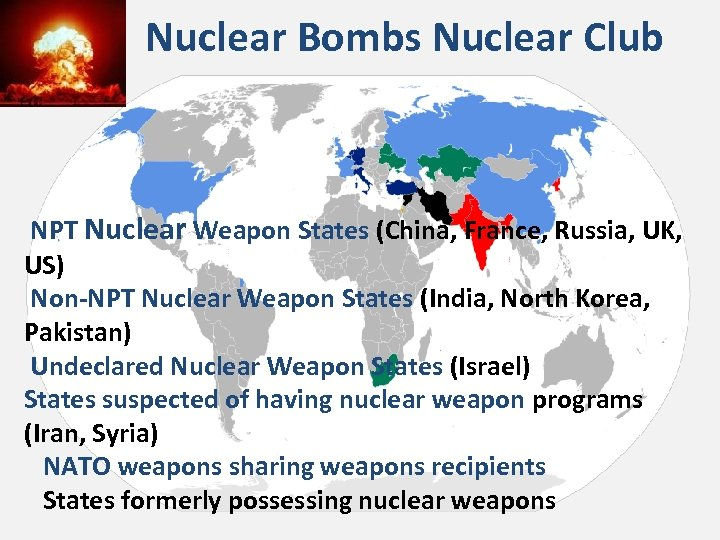 Nuclear Bombs Nuclear Club NPT Nuclear Weapon States (China, France, Russia, UK, US) Non-NPT