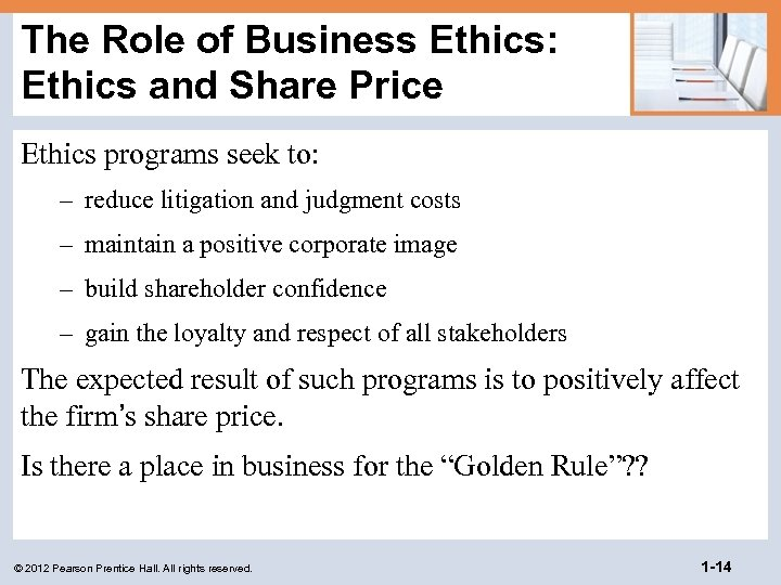 The Role of Business Ethics: Ethics and Share Price Ethics programs seek to: –