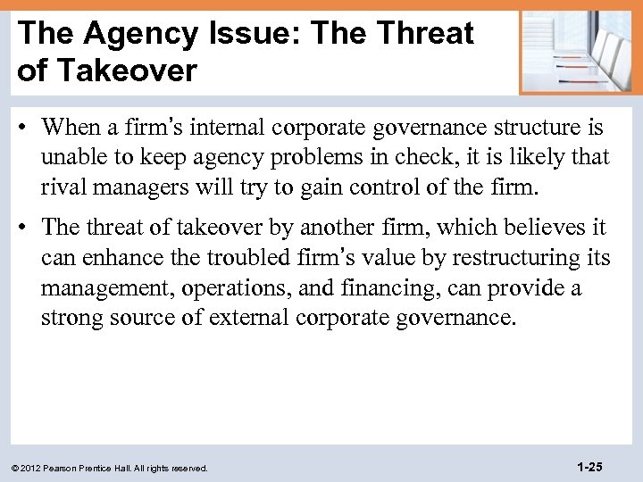 The Agency Issue: The Threat of Takeover • When a firm's internal corporate governance