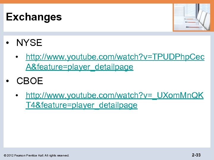 Exchanges • NYSE • http: //www. youtube. com/watch? v=TPUDPhp. Cec A&feature=player_detailpage • CBOE •