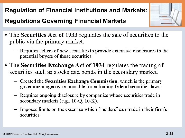 Regulation of Financial Institutions and Markets: Regulations Governing Financial Markets • The Securities Act