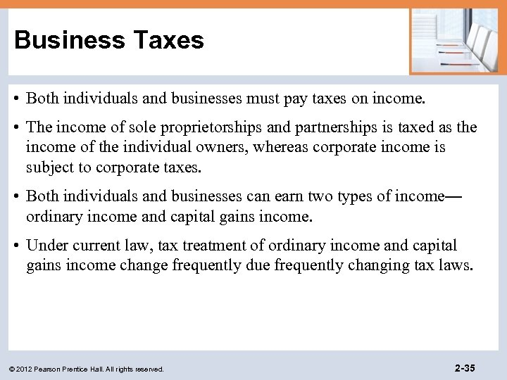 Business Taxes • Both individuals and businesses must pay taxes on income. • The