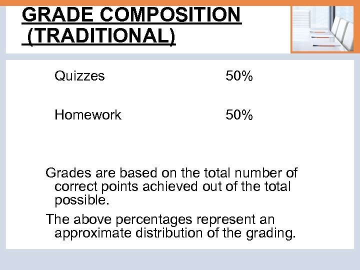 GRADE COMPOSITION (TRADITIONAL) Quizzes 50% Homework 50% Grades are based on the total number