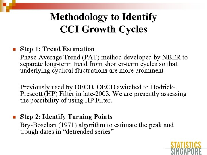 Methodology to Identify CCI Growth Cycles n Step 1: Trend Estimation Phase-Average Trend (PAT)