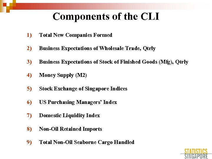 Components of the CLI 1) Total New Companies Formed 2) Business Expectations of Wholesale